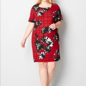 Red Floral Curvy Dress